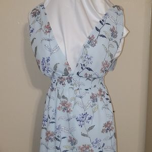 Forever21 Baby Blue Floral Maxi Size S